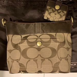 Coach Brown/Khaki Hobo Bag with Matching Wallet